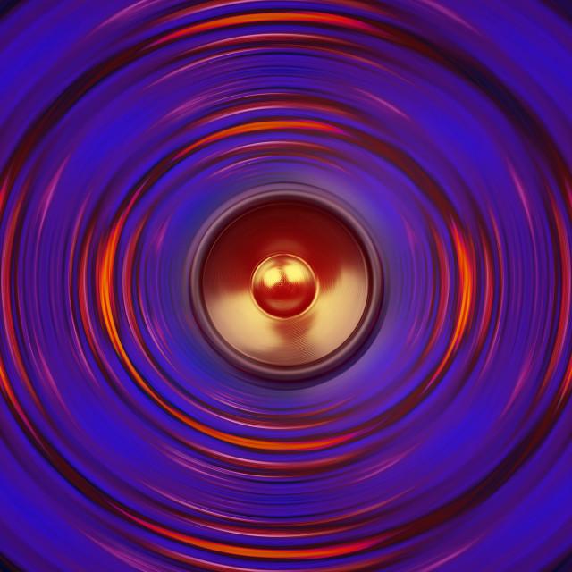 """Colourful spinning music speaker"" stock image"