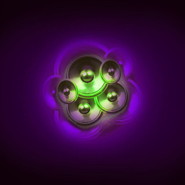 """Music speakers on a dark purple background"" stock image"