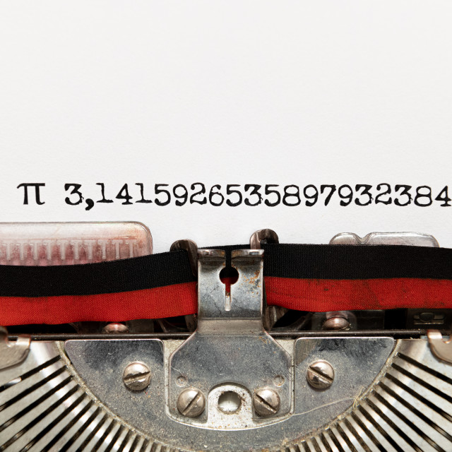 """Pi number written on paper with typewriter"" stock image"