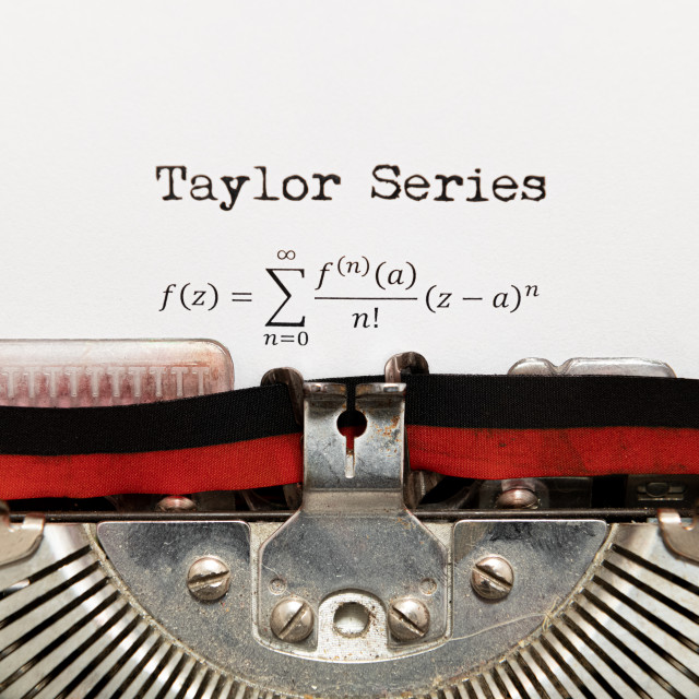 """Taylor series math formula written on paper with typewriter"" stock image"
