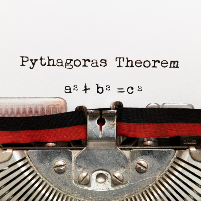 """Pythagoras theorem written on paper with typewriter"" stock image"