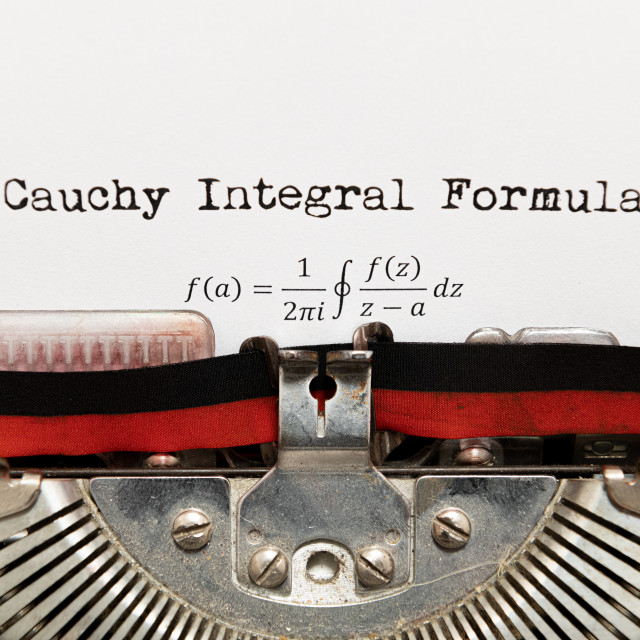 """Cauchy math integral formula written on paper with typewriter"" stock image"