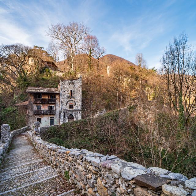 """Attone bridge and ancient customs house of Clanezzo"" stock image"