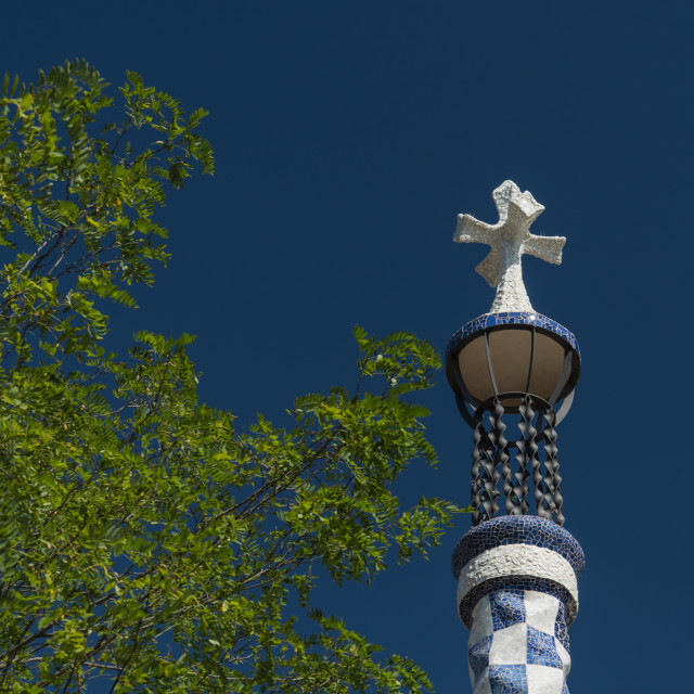 """low angle view of Gaudi sculpture against sky"" stock image"