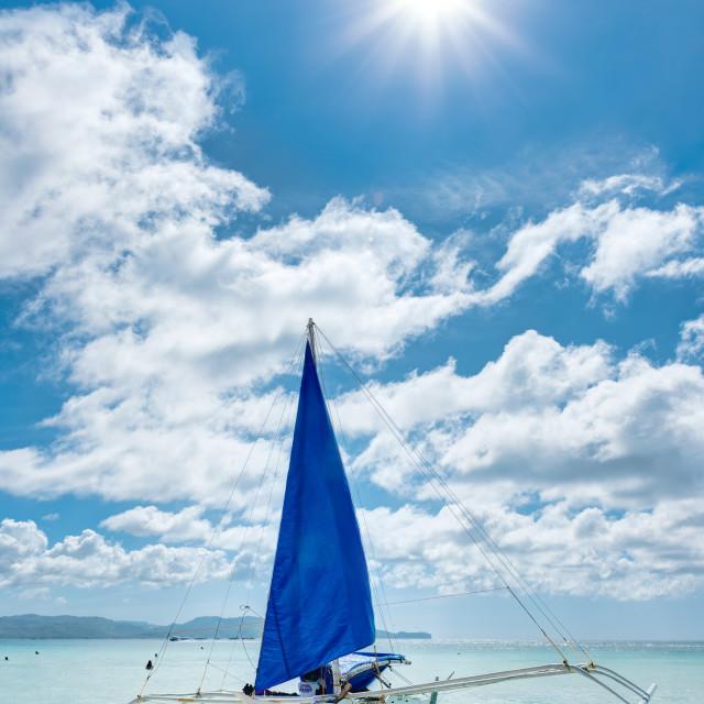 """Blue Sailboat"" stock image"