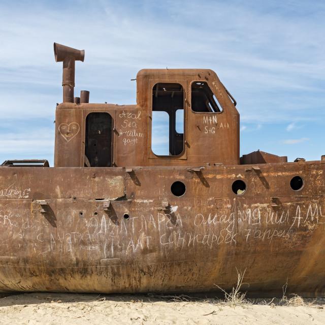 """Moynaq Ship Cemetery"" stock image"