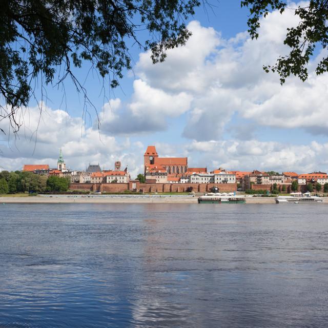 """""""Vistula River and Torun City Skyline"""" stock image"""