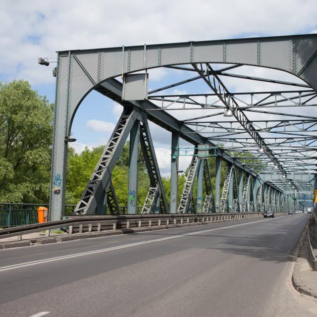 """""""Street on Jozef Pilsudski Bridge in Torun"""" stock image"""