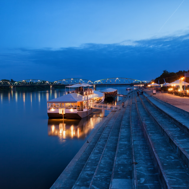 """Evening at Vistula River in Torun"" stock image"