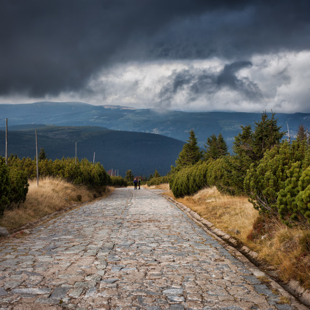 """""""Stone Paved Road in the Mountains"""" stock image"""