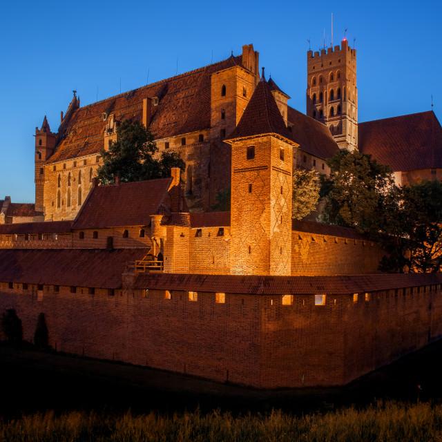 """Malbork Castle by Night"" stock image"