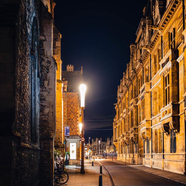 """Trinity Street by night"" stock image"
