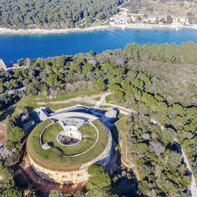 """""""An aerial view of old Fort Bourguignon, Pula, Istria, Croatia"""" stock image"""