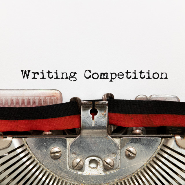"""Writing competition title text written on paper with typewriter"" stock image"