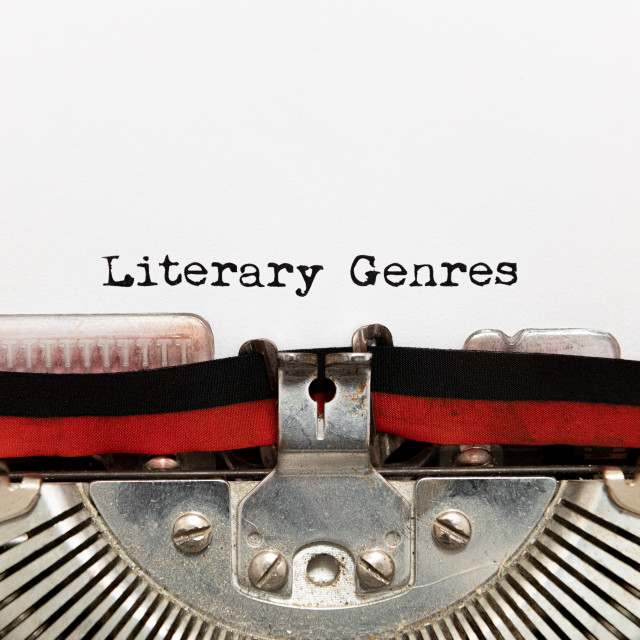 """Literary genres title text written on paper with typewriter"" stock image"