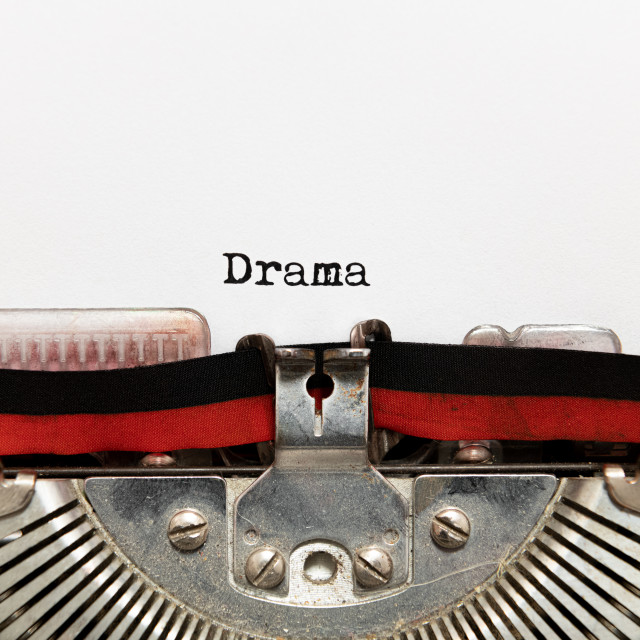 """Drama title text written on paper with typewriter"" stock image"
