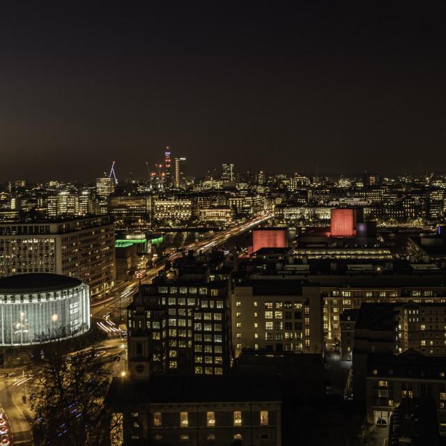 """""""London - Night Skyline"""" stock image"""