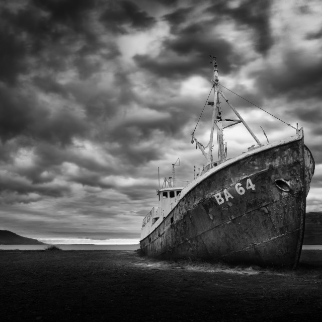 """""""Abandoned desolate rusty ship in black and white color"""" stock image"""