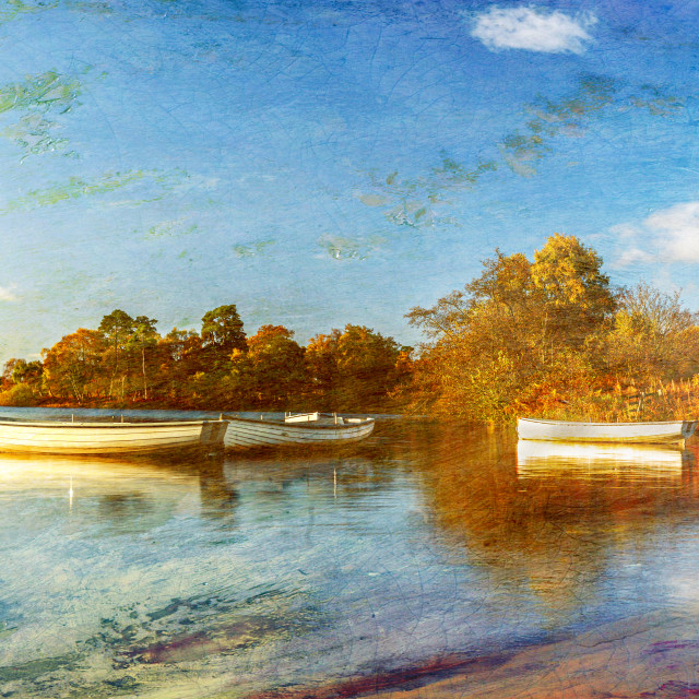 """""""Textured Loch Rusky Boats"""" stock image"""