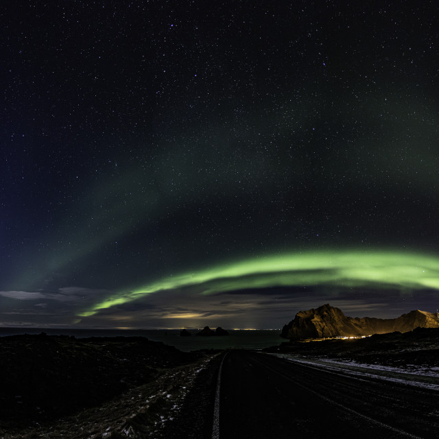 """""""Aurora over the Road and the Moon."""" stock image"""