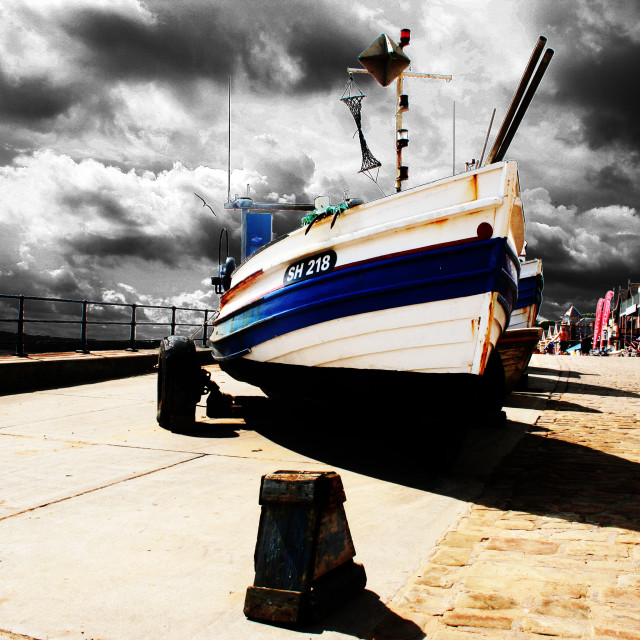 """Fishing Boat On Coble Landing"" stock image"