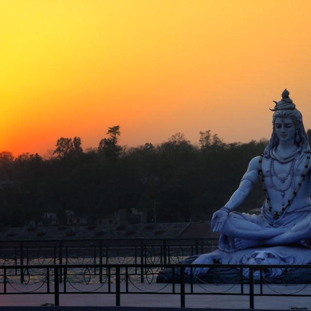 """Sunset on the Ganga river"" stock image"
