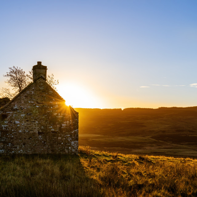 """Abandoned farmhouse in the Perthshire, Scotland"" stock image"