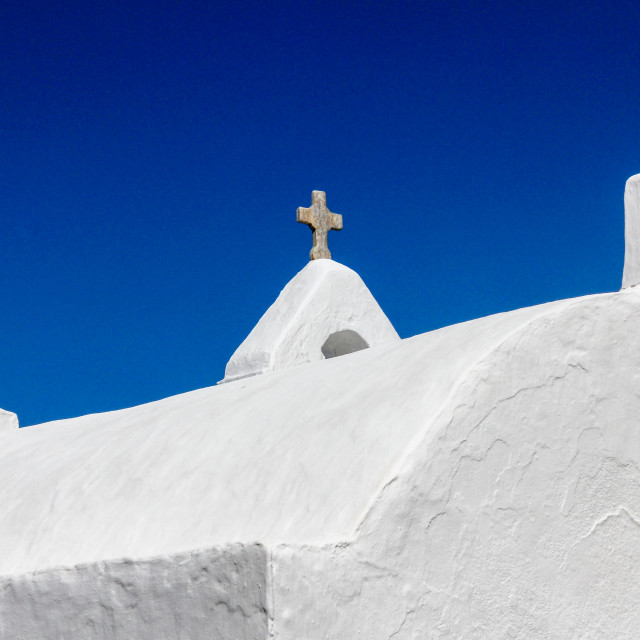 """Crosses on Church of Panagia Paraportiani"" stock image"