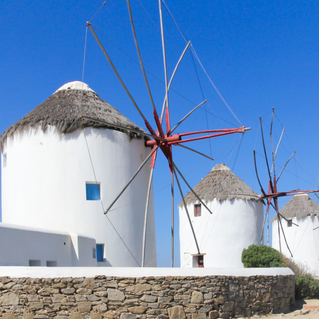 """Iconic windmills in Chora, Mykonos, Greece"" stock image"