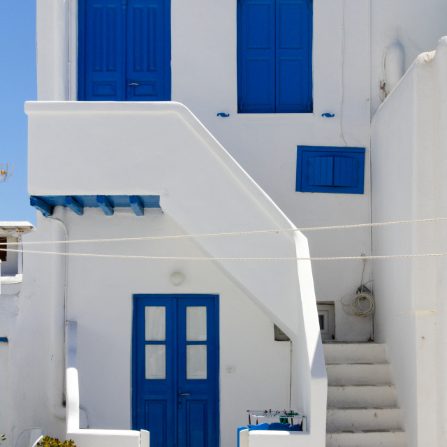"""Typical blue and white painted house in Chora, Mykonos, Greece"" stock image"