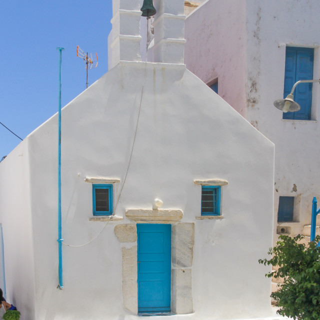 """A small church in Chora, Mykonos, Greece"" stock image"