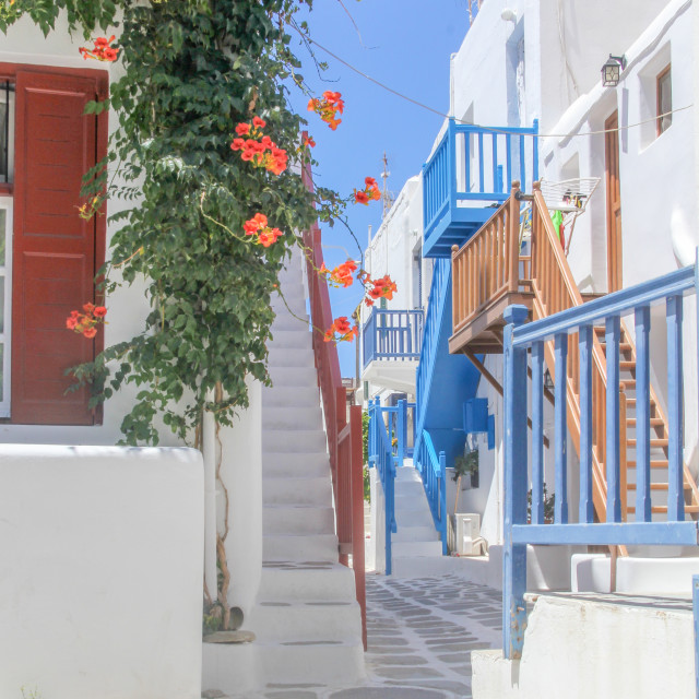 """A colourful street in Chora, Mykonos, Greece"" stock image"
