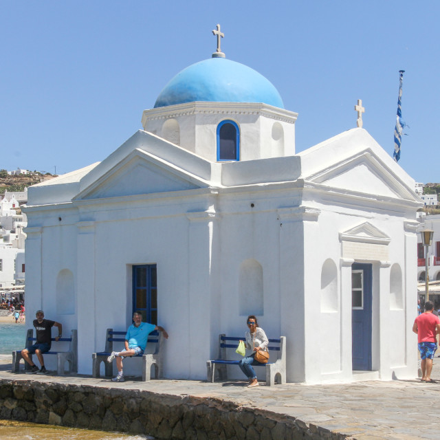 """Mykonos, Greece - July 23rd 2016: Church on the harbour in Chora. The island..."" stock image"