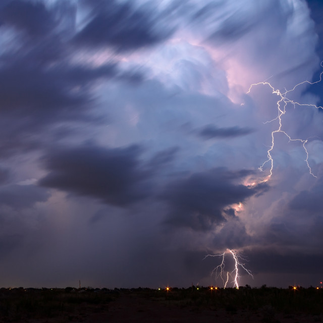 """Lightning bolt from a thunderstorm"" stock image"