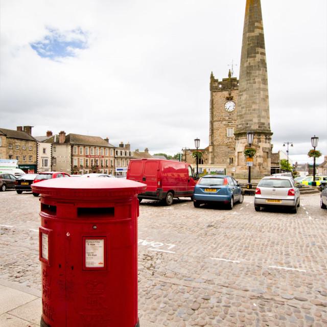 """Royal Mail Pillar box ER 11 Richmond, North Yorkshire"" stock image"