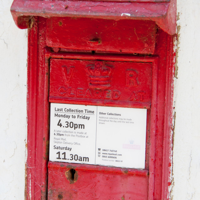 """Royal Mail Letterbox VR Hubberholme, Yorkshire Dales"" stock image"