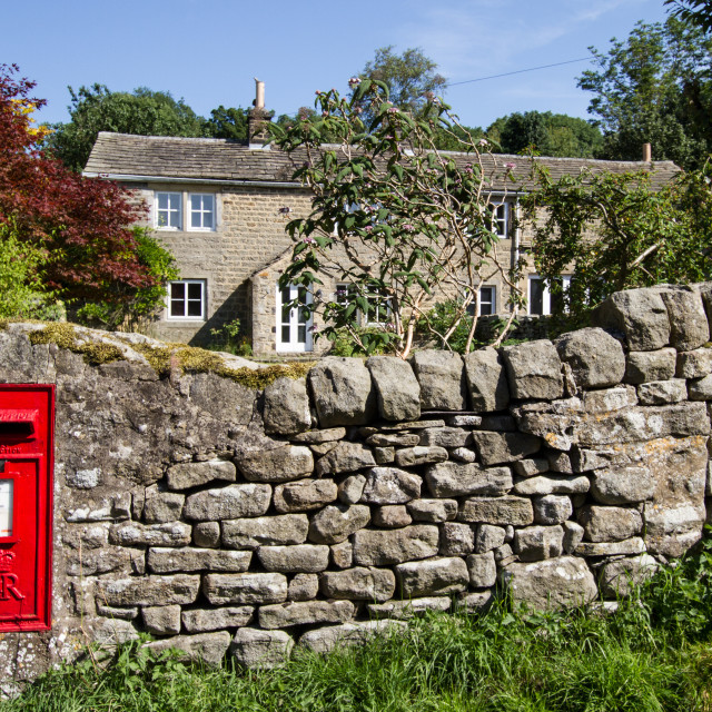 """Royal Mail Letterbox ER 11 Kettlewell, Yorkshire Dales"" stock image"