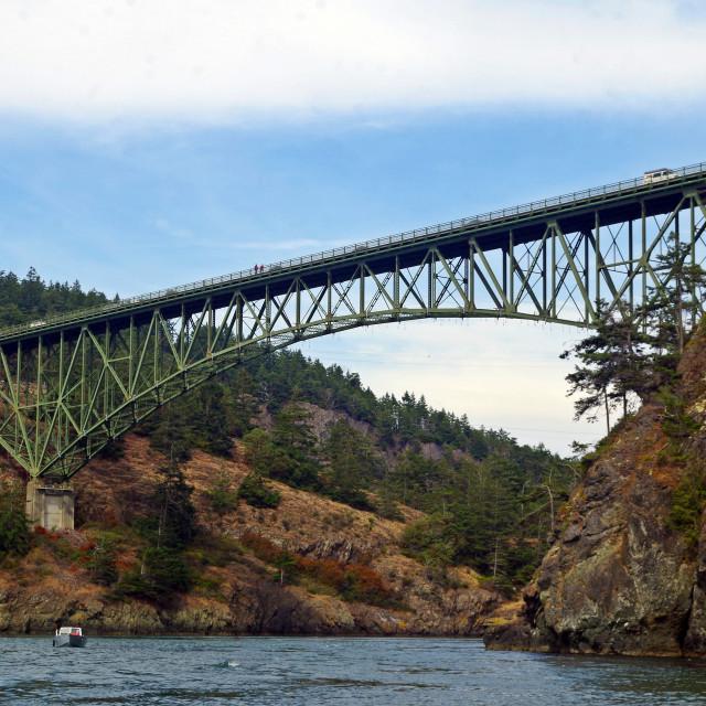 """Deception Pass Bridge August - horizontal"" stock image"