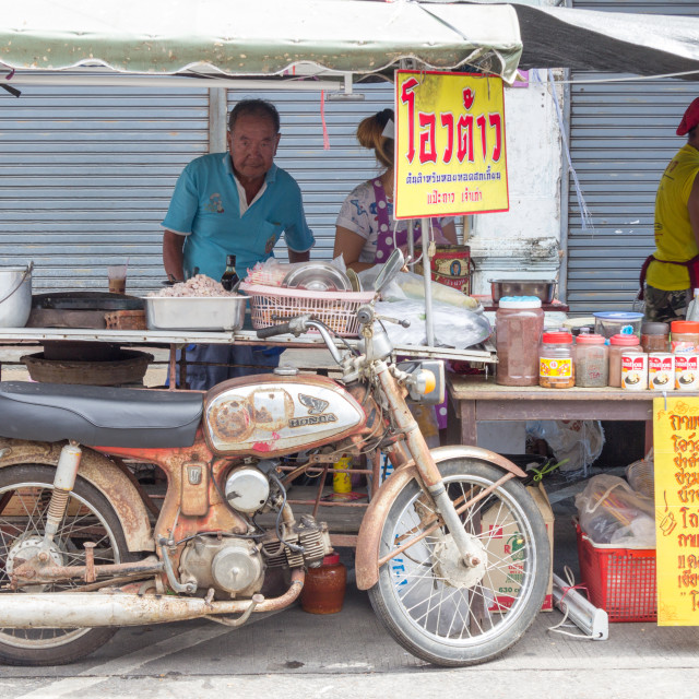 """Mobile roti vendor in Phuket Town, Thailand"" stock image"
