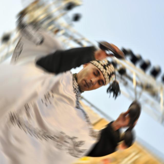 """""""Gnaoua dancer, Essaouira festival, Morocco"""" stock image"""