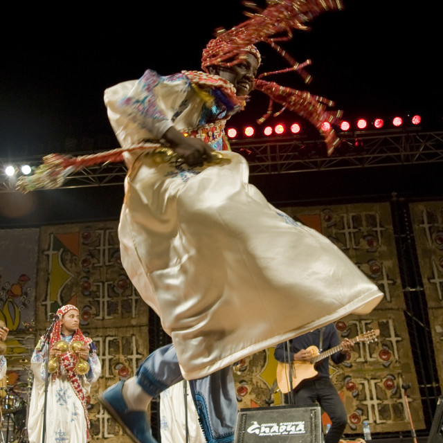"""""""Gnaoua dancer; Essaouira, Morocco"""" stock image"""