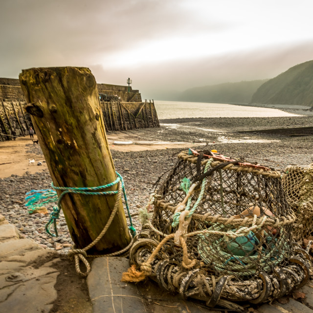 """Lobster pots, Clovelly Harbour"" stock image"