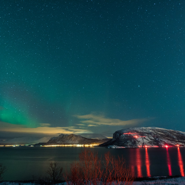 """""""Night at the fjord"""" stock image"""