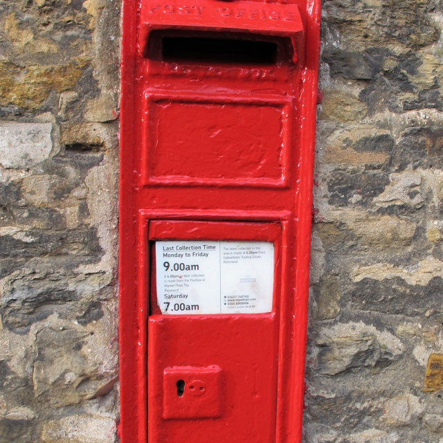 """Royal Mail Letter Box VR, Richmond, North Yorkshire"" stock image"
