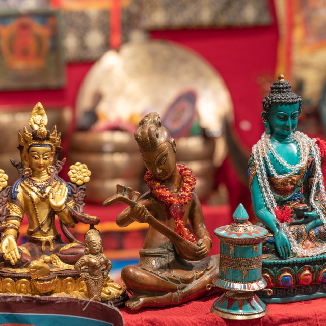 """""""Three different statuettes depicting the Buddha in an ethnic mar"""" stock image"""