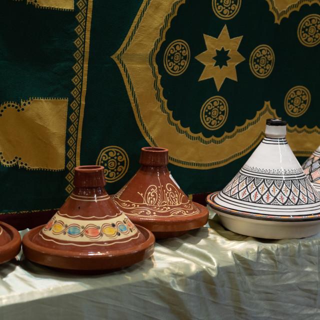 """Traditional Berber Tajine pots"" stock image"