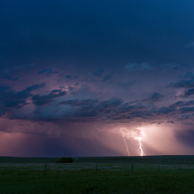 """Thunderstorm lightning strike"" stock image"
