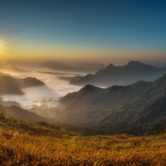 """""""Phu Chi Fa Sunrise, Thailand"""" stock image"""