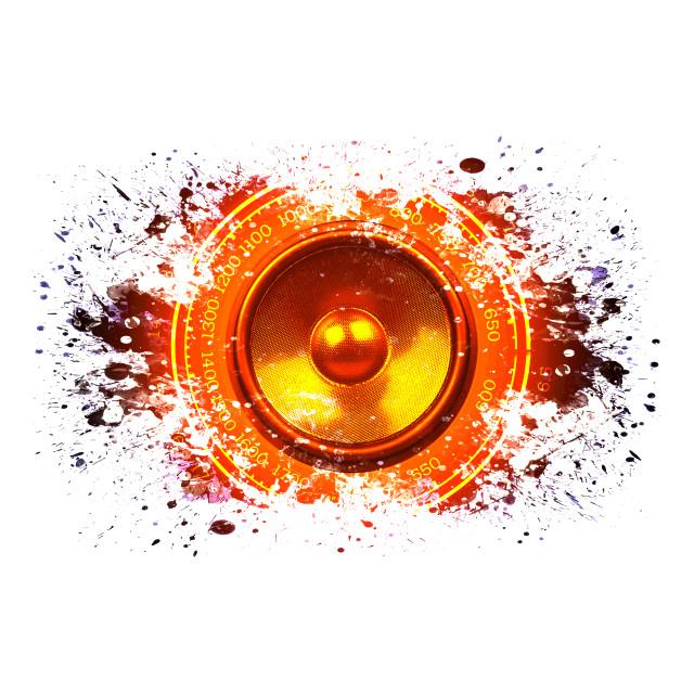 """""""Splashed audio speaker isolated on white"""" stock image"""