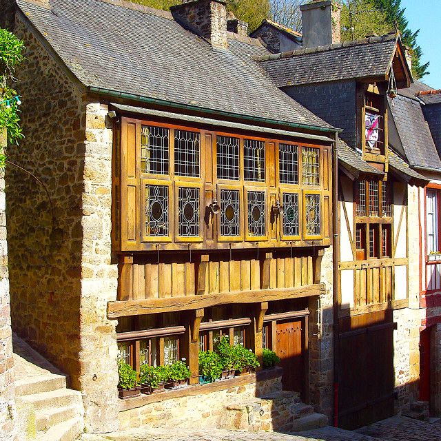 """Medieval half-timbered house in Rue du Jerzual in Dinan"" stock image"